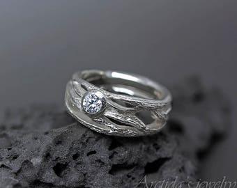Zweig Ring Größe 7 3/4 Trauring Verlobungsring Baum Rinde strukturierten Band Sterling Silber Natur Schmuck Statement Ring - Frost ring