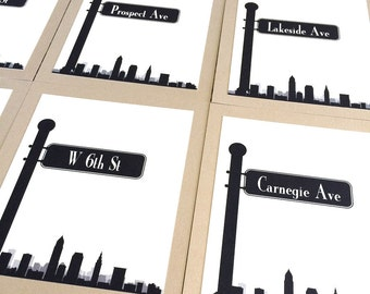 Cleveland Table Number Skyline Street Sign Travel Wedding Decor Your CityCustom Reception