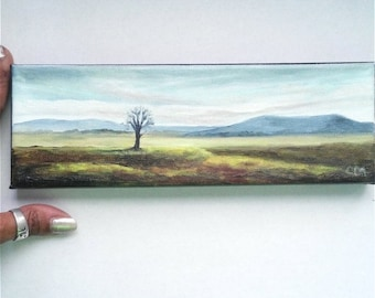 """Oil Painting Mountains, Lone Tree  3"""" x 9"""" READY to SHIP"""