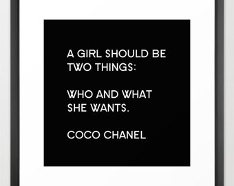 Chanel Print, Chanel Poster, Black and White Fashion Wall Art, Chanel Canvas, Girls Wall Art Teen Wall Art, Chanel Home Decor, Gifts for Her