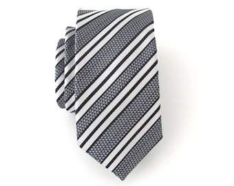 Mens Ties. Black Silver White Stripes Men's Skinny Tie