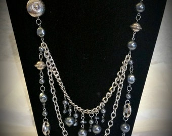 Sliver Grey Beaded Chain Layered Adjustable Ribbon Necklace