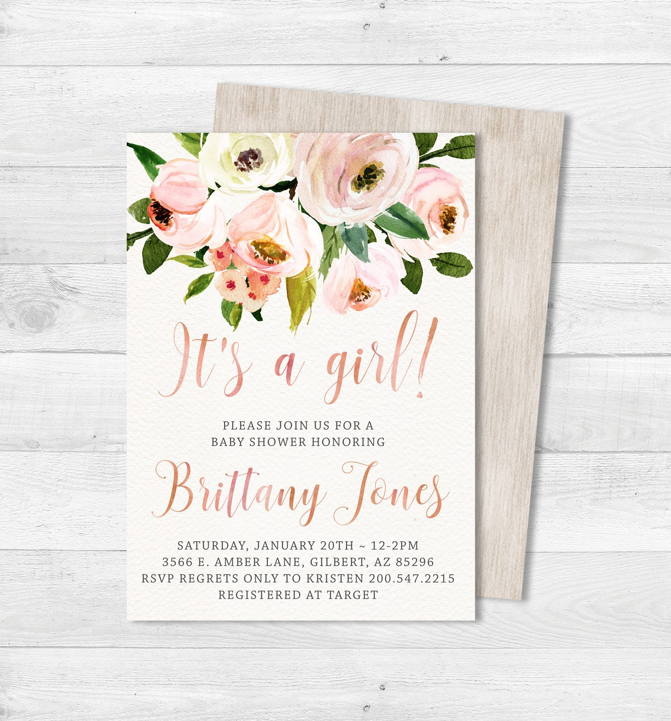 GIRL FLORAL BABY Shower Invitation Rustic Floral Baby Shower