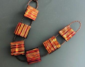 Copper and Purple Glass Bracelet, Fused Glass Link Bracelet, Dichroic Fused Glass Link Bracelet, Hammered Copper Link Bracelet