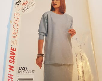Vintage Easy Stitch 'n Save McCall's sewing pattern 4393 Misses' Top & Skirt in size 20, 22, 24