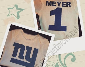 NY and other teams custom design for Babies! Glitter and other finishes available! Personalized with name Free! NFL, NHL & more.