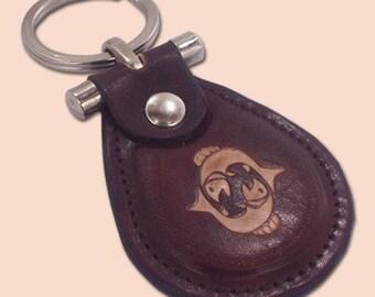 Pisces zodiac leather metal T keychain - FREE Shipping Worldwide