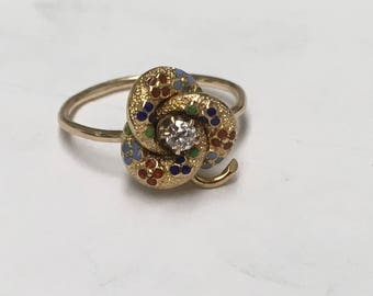 14k Yellow Enameled Forget me Knot  Ring with Diamond Center in the lovers Knot form upcycled Stickpin