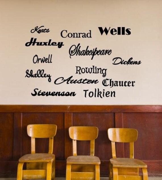British Authors Vinyl Decals Classroom Decal Wall Decal - Custom vinyl wall decals for classrooms