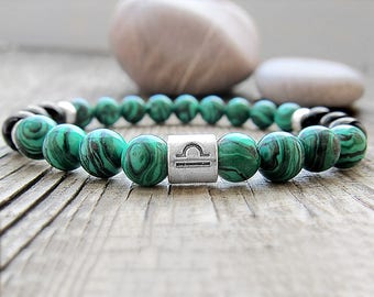 Libra birthstone bracelet Malachite bracelet September birthstone Zodiac sign jewellery Green bracelet Astrology jewellery Libra Zodiac sign