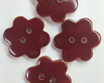 Ceramic Flower Buttons, Red Clay Buttons, Handmade Pottery Buttons, Rustic Buttons,  Clothing Buttons, Pottery Buttons,, Price Per Button