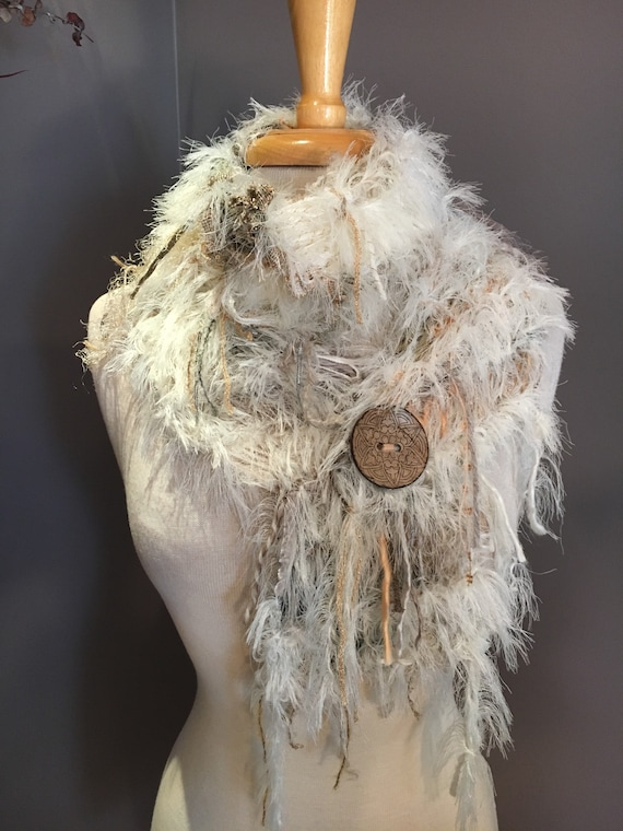 Hand Knit scarf with oversized button, Ivory Fur, Art Scarf, Scarf with button, Original Dumpster Diva fashion, cream gold fur, boho wrap