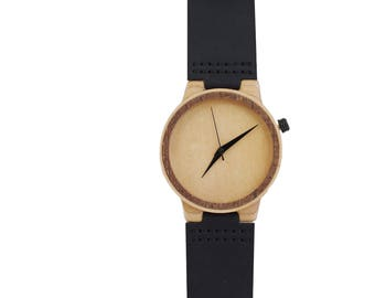 7PLIS watch #074 Recycled SKATEBOARD #madeinfrance Black beige wood