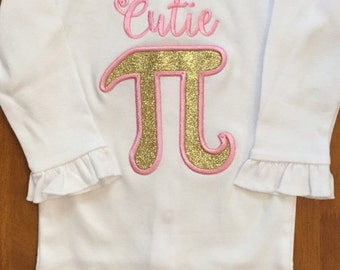 Pink and Gold Glitter Cutie Pi Shirt or Baby Bodysuit