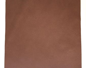 Brown Pebbled Leather / Medium Brown Leather / Brown Leather Piece / Brown Leather Fabric / Genuine Leather / Brown Craft Leather