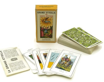 French Vintage Tarot Cards. Complete Deck of Grand Etteilla. Egyptian Gypsies Tarot. Divination Cards.