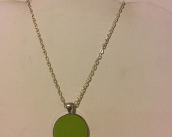 Lime resin round pendant necklace