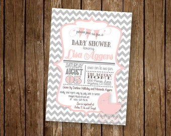 5 x 7 inch Personalized CHEVRON Gray and Pink or Peach Baby Shower Invitation