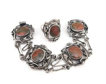 Vintage Sterling Agate Dragon Bracelet Ring Set - Salamone, Italian Sterling, Quartz Agate, Griffin, Mystical Beast, Gargoyle, Gothic
