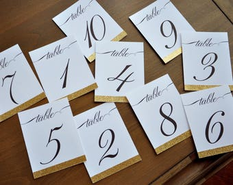 Table Numbers for Wedding Gold. 1-10 or more. Cursive Table Number. Handmade in 2-5 Business Days. Gold Table Numbers Cards.