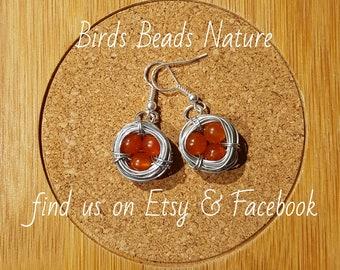 Carnelian Bird Nest Earrings Nickle Free