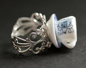 White China Teacup Ring with Blue Flowers. Miniature Tea Cup Ring. Blue Ring. Silver Filigree Ring. Adjustable Ring. Handmade Ring.
