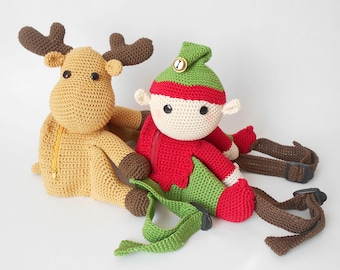 Crochet pattern for Santa's Helpers Backpacks. Cute and practical accessory for kids. Written instructions, step by step photo tutorials.