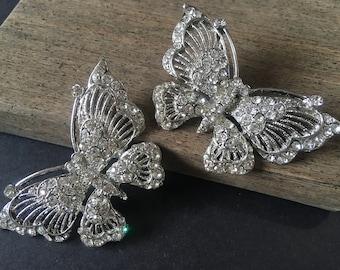 Butterfly shoe clips, pair shoe clips, rhinestones shoe clips, rhinestones shoe clips, shoe decoration, dancing shoe clips, bridal jewelry