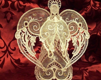 Embroidered 3D Lace Angel tree topper or table decoration