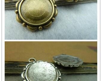 20 Bezel Cup- 14mm Antique Bronze Silver Ac3530