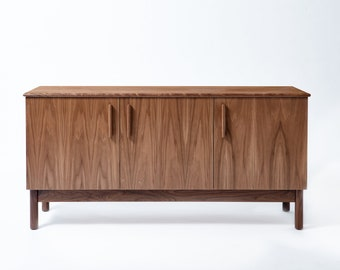 NEW // Credenza and Media Cabinet Made of Walnut Veneer and Solid Hardwood. Mid Century Style with Three Doors and Adjustable Shelves.