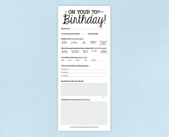 70th Birthday Party Game Card Funny Milestone Printable PDF