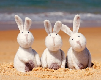 "Easter CARD Original Photographic 6"" x 4"" Print on Heavy Card Stock. Easter, Beach, Felted Rabbits, Bunnies, Cute, bunny rabbits"