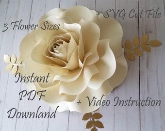 PDF and SVG Paper Flower Template    DIY Paper Rose    Paper Petals    Home Decor    Party Decor    Wedding Decor    #031