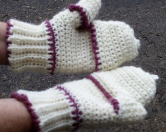 Cell Phone Mitts in Cream & Old Rose