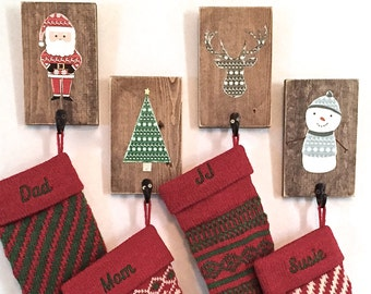 Stocking holder, Christmas decor, reclaimed wood, stocking hooks, rustic Christmas, reindeer stocking, Christmas tree, wall stocking holder
