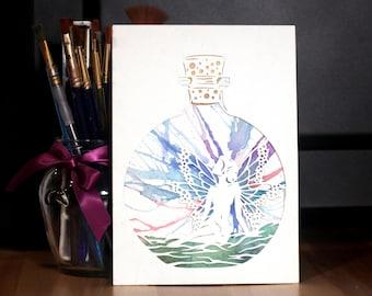 Laser Cut Reproduction fée dans une bouteille en papier découpée à l'aquarelle