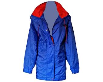 Vintage Windcheater Jacket 80s Coat Hooded Blue Windbreaker Size Large