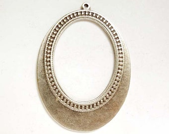 1 Oxidized Silver Oval Pendant/Charm - 21-53-3