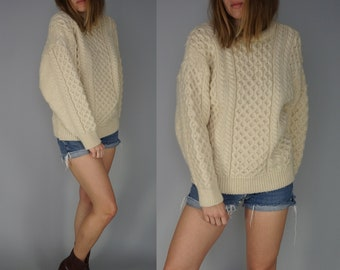 Vintage Fisherman Sweater Pullover | 70s 80s Chunky Knit Sweater | Quill's Woollen Market Made in Ireland | Irish Wool Sweater Beige | S M
