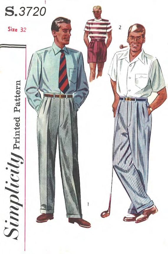 Men's Vintage Reproduction Sewing Patterns Vintage 1950s Sewing Pattern Mens Slacks Pants Trousers Shorts Pleats W 32 RAREVintage 1950s Sewing Pattern Mens Slacks Pants Trousers Shorts Pleats W 32