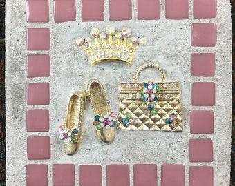 """Mosaic Mixed """"Playing Dress Up"""" Crown, Princess, Treasure Stone"""
