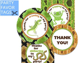 REPTILE Party Favor Tags - Lizard, Snake, Frog, Reptile Favor Tag, Reptile Tags, Reptile Party Decorations, Reptile Party Printables