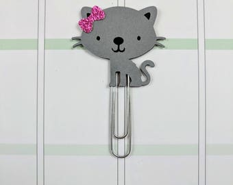 Gray Kitty Planner Clip
