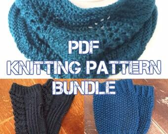 KNITTING PATTERNS BUNDLE - Fitzroy Cowl, Cortez Handwarmers, Persephone Handwarmers