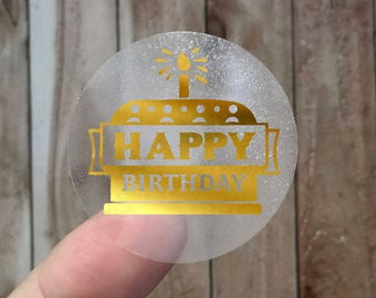 HAPPY BIRTHDAY - Gold Foil Labels - Sticker - Seal - #16