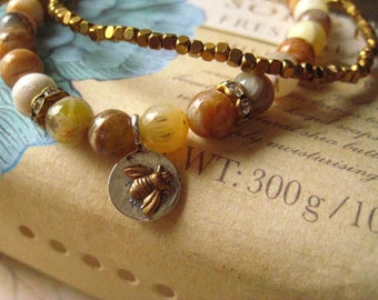 Yellow Opal Bracelet, opal beads, stretch bracelet, double bracelet, mixed metals, bee charm, candies64