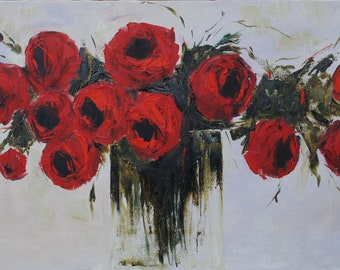 "Oil painting ""Red roses"""