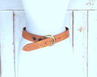 90s vintage thick tan light brown tooled leather belt/embossed belt/30
