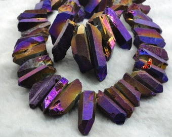 Matte Titanium Coated Mystic Drilled Crystal Quartz Points Rough Dagger gemstone spike tower beads,15 inches